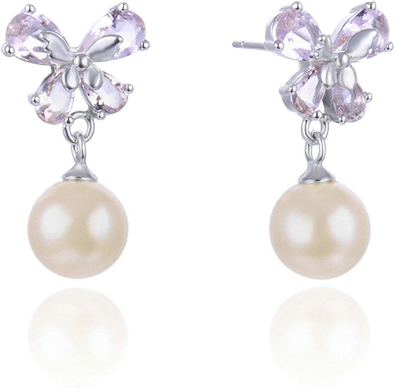 Daesar Pendientes Plata de Ley Mujer Lazo con Perla Circonita Rosa Pendiente Aro Plata