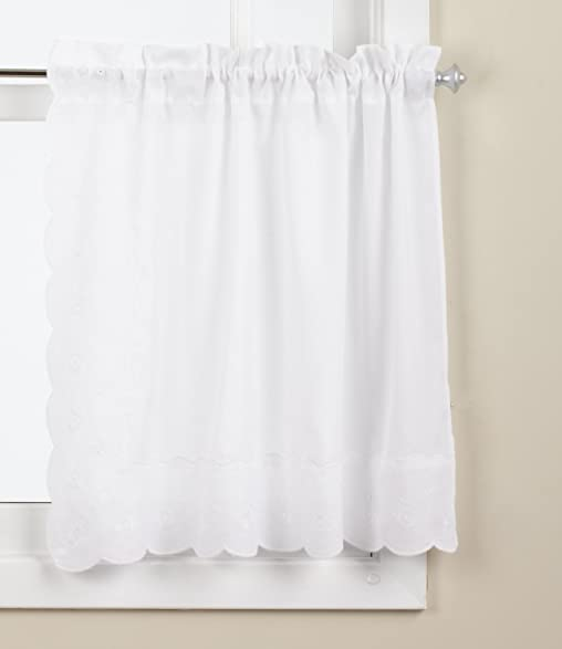 Lorraine Home Fashions Candlewick Tier Curtain Pair, 60 By 24 Inch, White