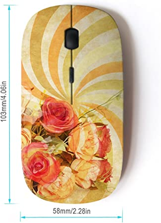 STPlus Pink Floral Flowers 2.4 GHz Wireless Mouse with Ergonomic Design and Nano Receiver