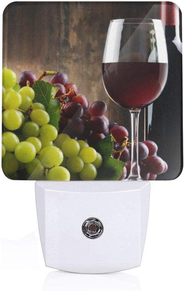 Fresh Grapes and Red Wine Plug-in Night Light Dusk to Dawn Smart Sensor,White LED Nightlight for Bedroom,Bathroom,Kitchen,Hallway,Stairs,Hallway,Energy Efficient,Decor Desk Lamp