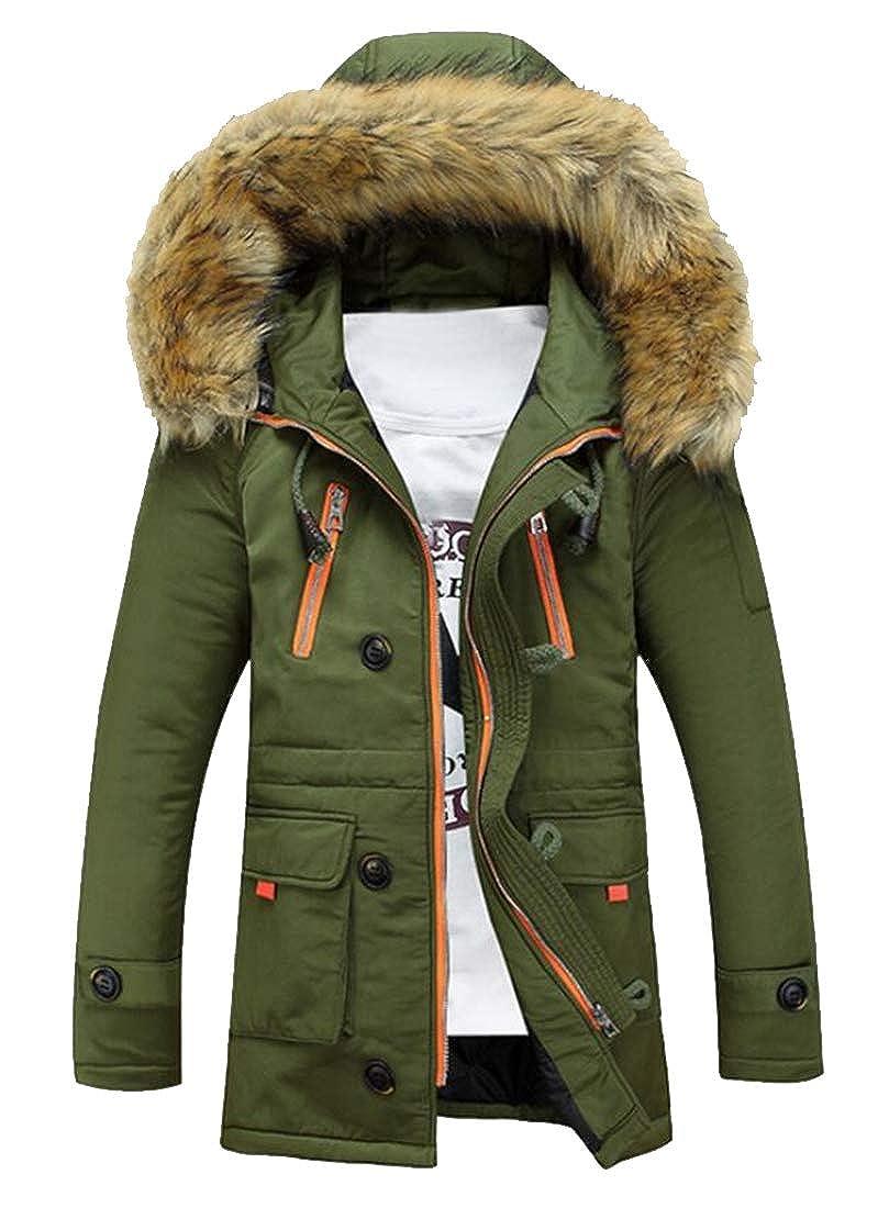 Jofemuho Mens Winter Thicken Regular Fit Mid Length Faux Fur Hoodie Down Coat Jacket Overcoat