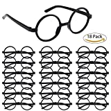 #10: Ranpower 18 Pack Wizard Glasses Plastic Eyeglasses Black Round Frame No Lenses Halloween Costume Party Supplies for Children