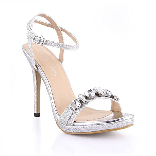 95e2d7358 Dolphin Women s Sinver Rhinestone Open Toe High Heel Sandals with Ankle  Strap Wedding Dress Pumps SM00007