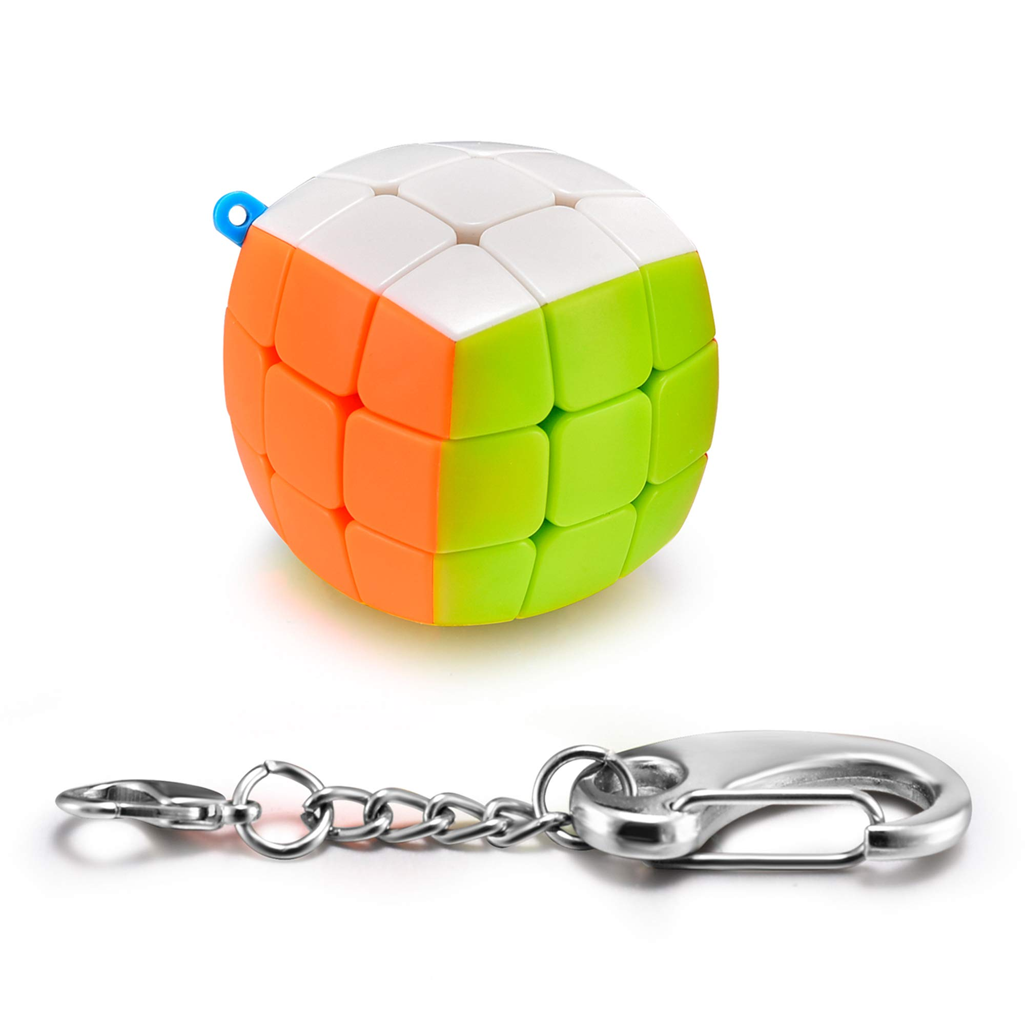 Speed Keychain Cube - Key Ring 3x3 Magic Cube Puzzle - Mini Toy Stickerless Toys Gifts Pocket Size for Kids
