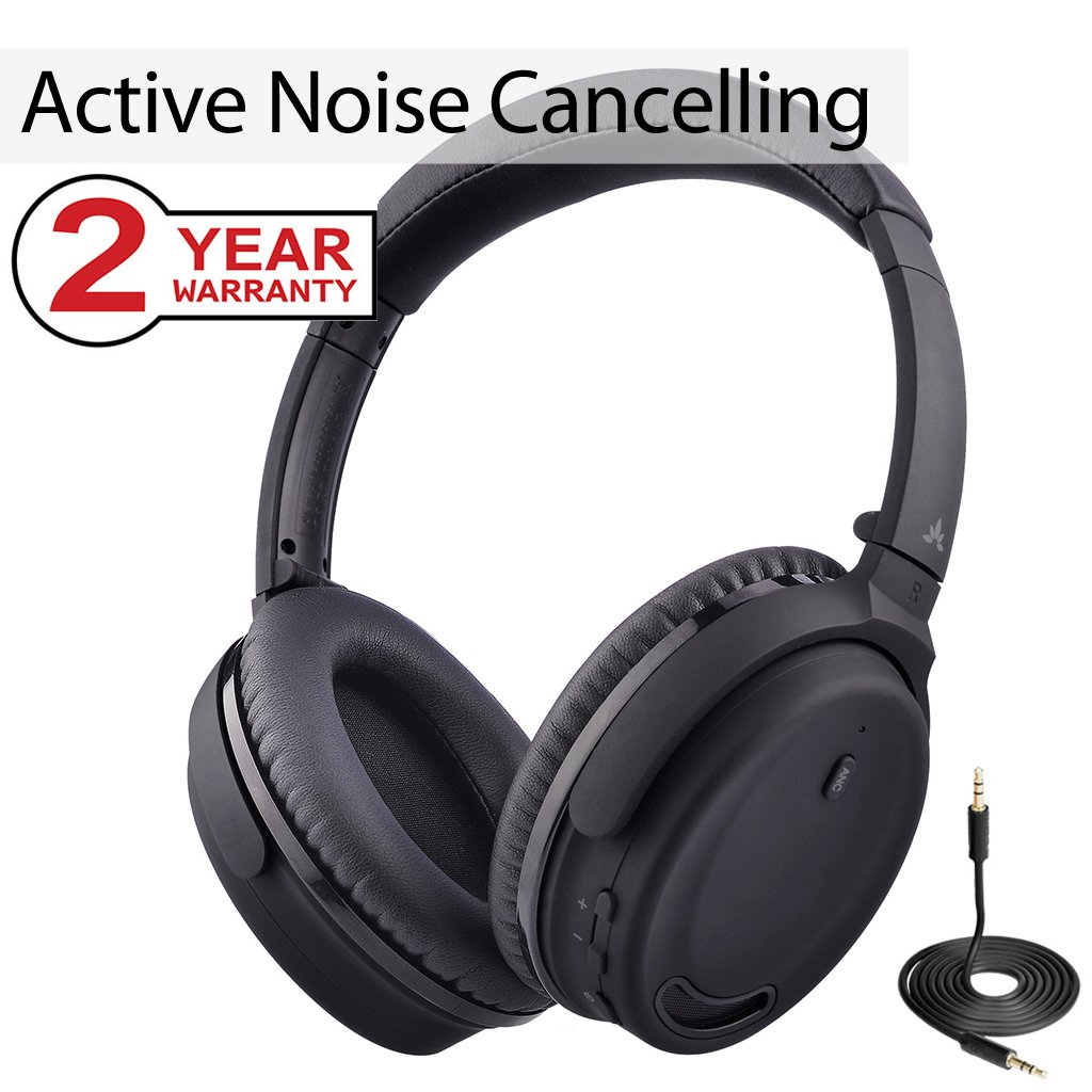 Avantree Active Noise Cancelling Bluetooth 4.1 Headphones with Mic, Wireless Wired Comfortable Foldable Stereo ANC Over Ear Headset, Low Latency for TV PC Phone - ANC032 [24M Warranty] by Avantree