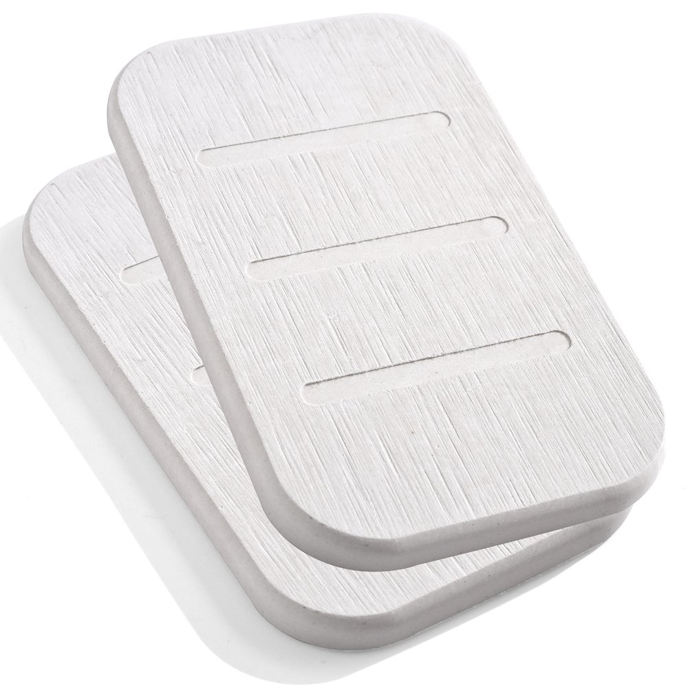 Marbrasse Diatomite Soap Dish, Anti-Bacterial Soap Bar Holder, Absorbent Soap Saver and Clay Coasters 2 Pack, Made from Self-Dry Diatomaceous Earth (Beige Oblong) Yiwu Marbrasse Co. LTS