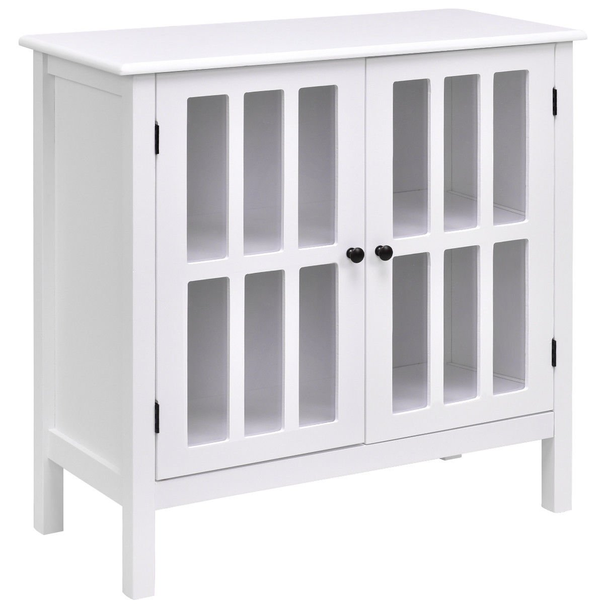 White Storage Buffet Cabinet Glass Door Sideboard Console Table Server Display