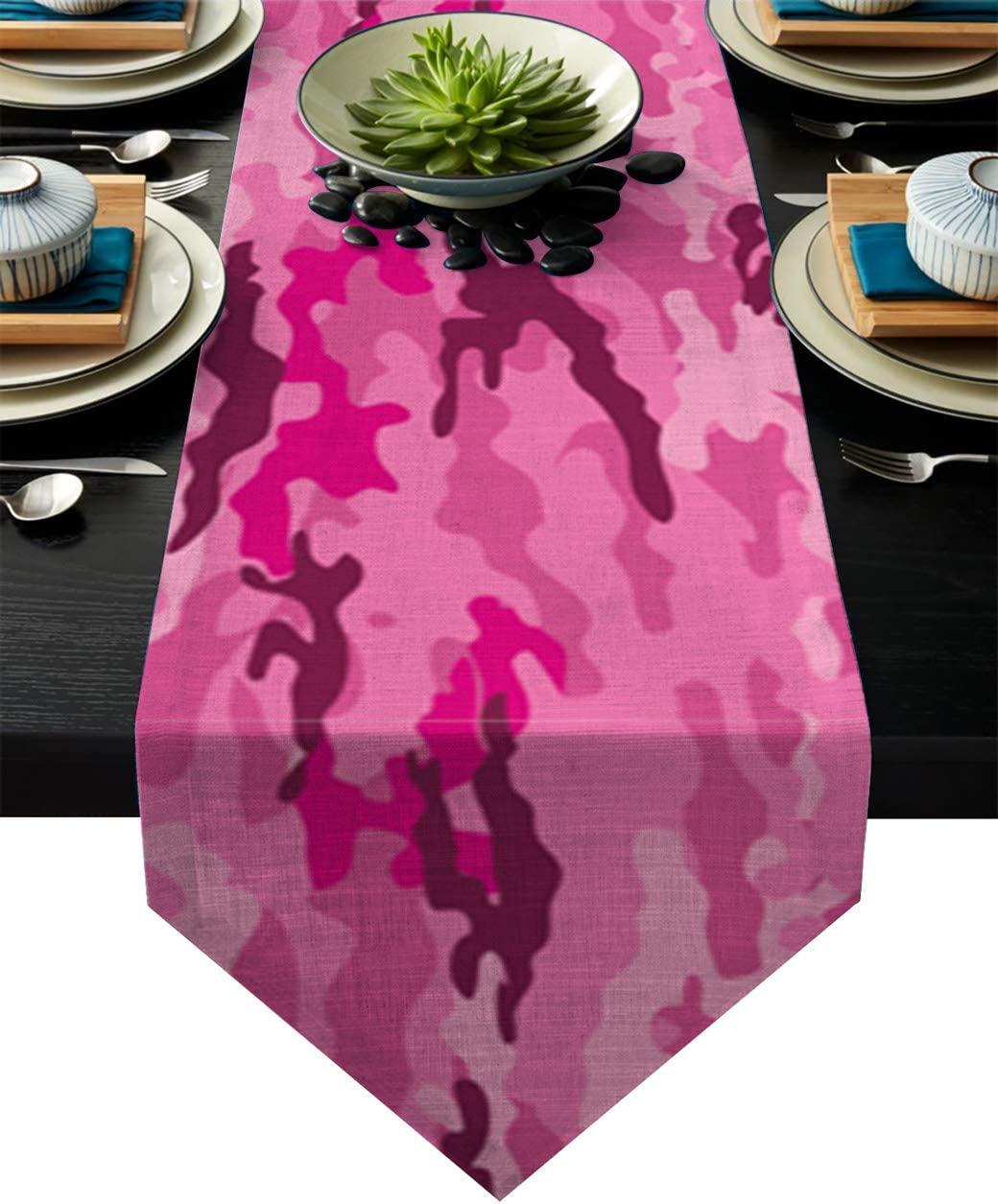 Amazon Com Independence Day Cotton Rectangle Table Runner Camouflage Netting Camo Pink Non Slip Linen Family Dinners Outdoor Parties Wedding Everyday Decorations 13x90 Inch Home Kitchen