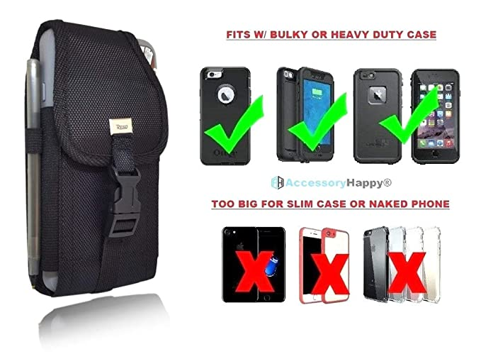 more photos 10e64 84efe Military Grade Cell Phone Belt Case, Rugged Outdoor Pouch Carrying Clip  Compatible w/ [iPhone 6 6S 7 8 X XR XS (4.7'')] Kyocera DuraForce PRO Sam  S7 ...