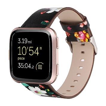 Fitbit Versa Correa, ☸ Zolimx Repuesto para Reloj Inteligente Fitbit Versa 2018 Piel Auténtica Correa de Piel con Impresión de Peonía Pulsera para Fitbit ...