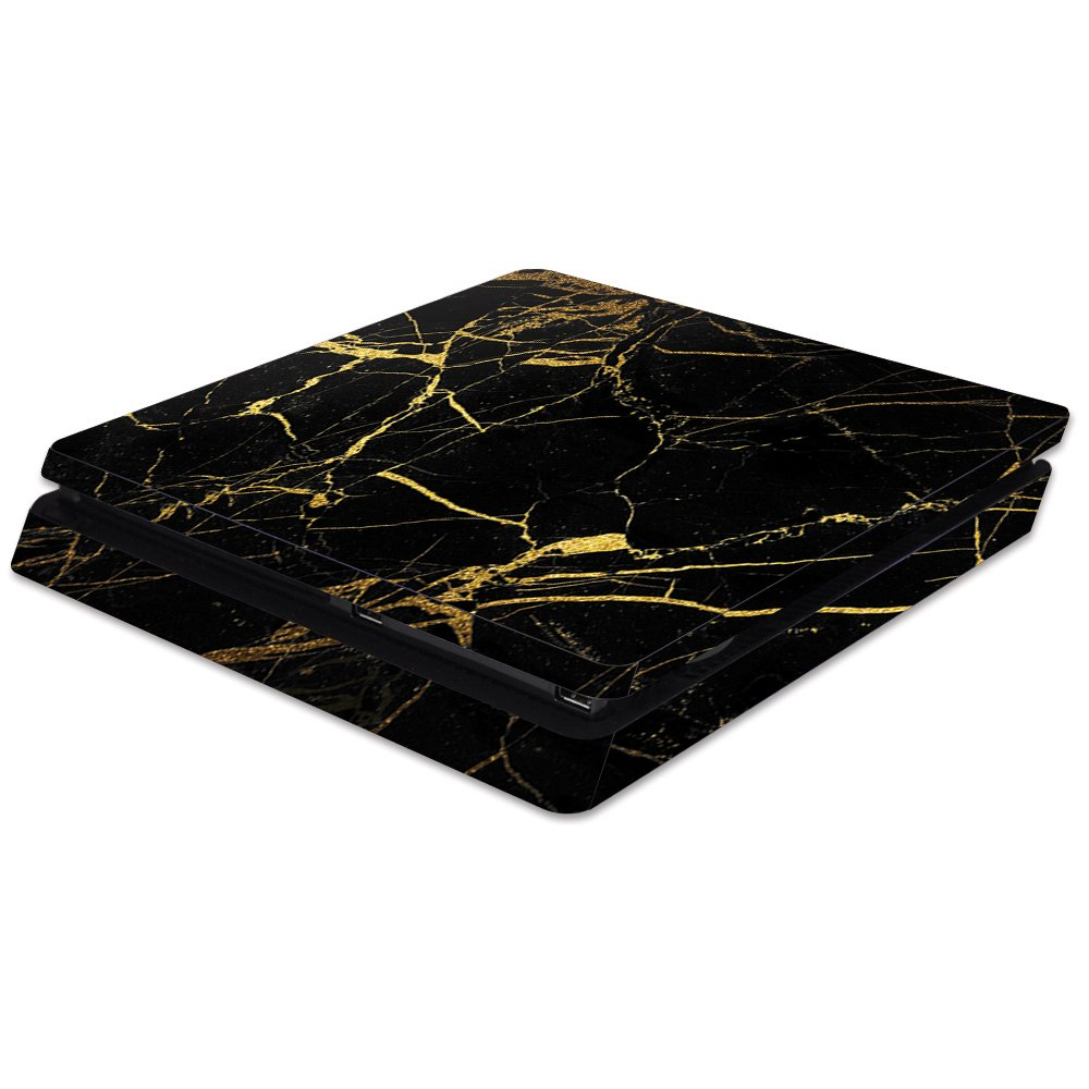 MightySkins Skin For Sony PS4 Slim Console - Black Gold Marble | Protective, Durable, and Unique Vinyl Decal wrap cover | Easy To Apply, Remove, and Change Styles | Made in the USA