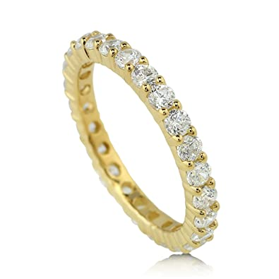 5472a9495092c BERRICLE Yellow Gold Flashed Sterling Silver Cubic Zirconia CZ Anniversary  Eternity Band Ring