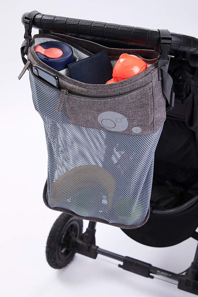 b.box Stroller Organizer | Color: Gray | Attaches to Stroller Handle | Turns into Handy Shoulder Bag | Easy Clean Surface
