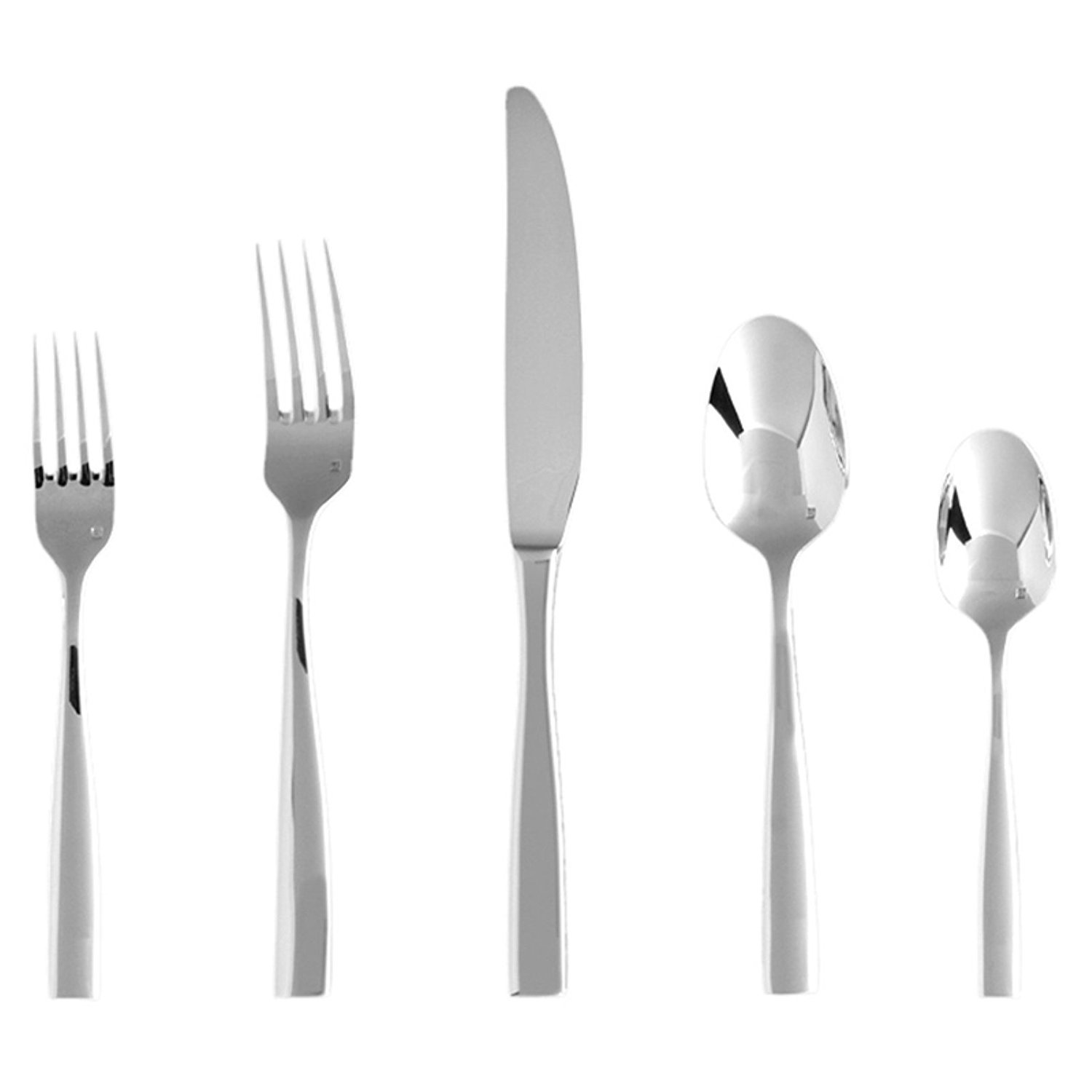 Fortessa Lucca 5 Piece Stainless Steel Flatware Set in Silver