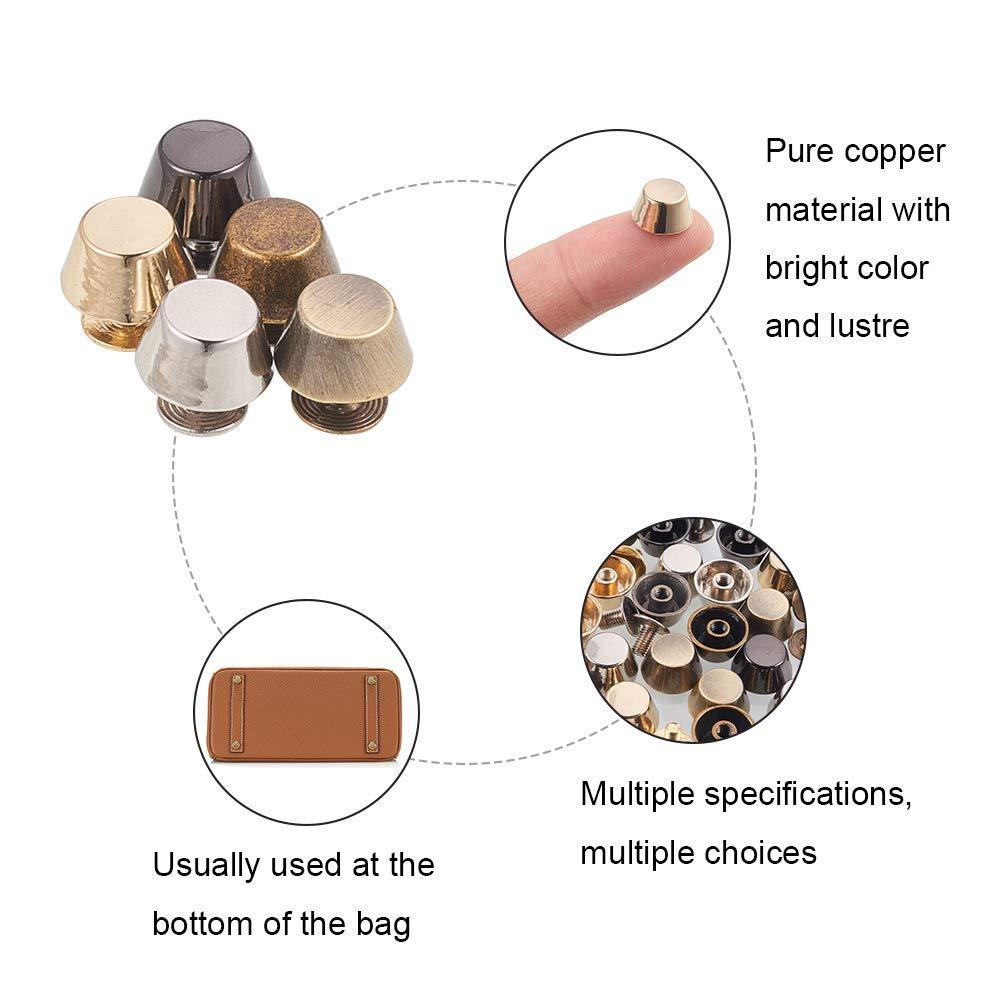 PandaHall Elite About 120 Pcs 3//5 Inch Alloy Handbag Feet Nailhead Stud Mushroom Spike Rivets Flat Buckle Button Cap 3 Colors for DIY Leather Craft
