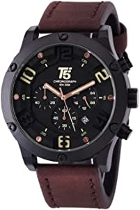 T5 Watch for Men, Leather Band, Chronograph, H3476G-B