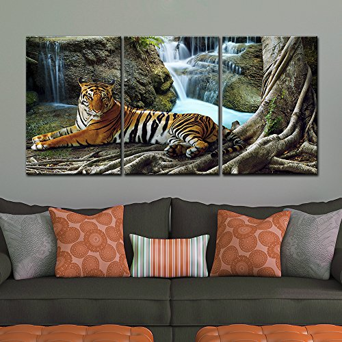 3 Panel A Tiger in Tropical Landscape Gallery x 3 Panels
