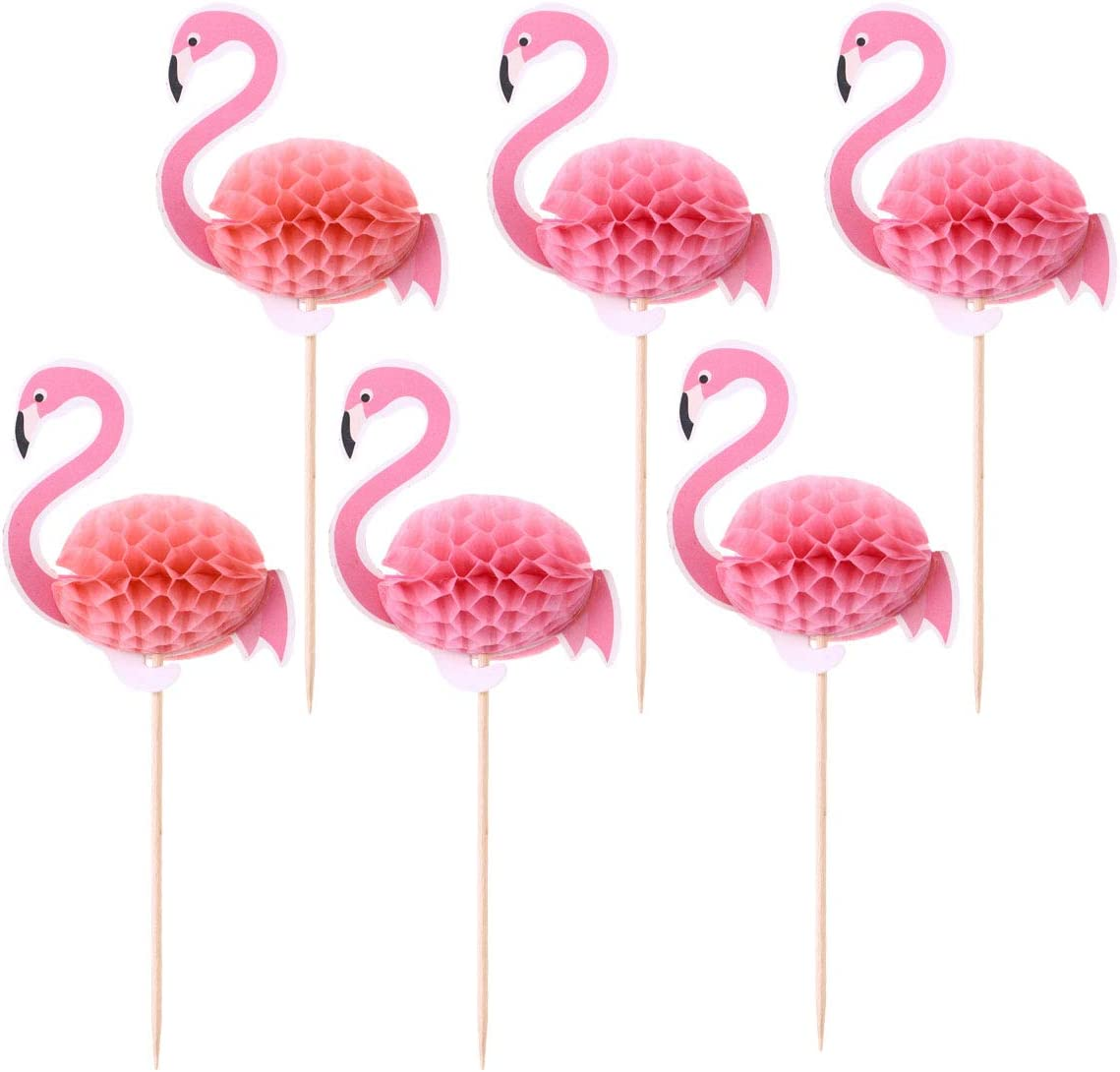 Liwein 30 pcs Flamingo Cupcake Toppers,3D Cake Toppers Pavo Real Goldfish Cartoon Cake Picks Toothpicks Suministros de Decoraci/ón de Alimentos para Cocktail Fiesta de Cumplea/ños Bodas