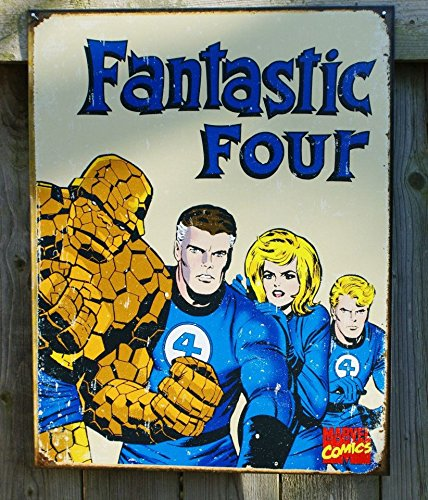 Fantastic Four Marvel Comics Distressed Retro Vintage Tin Sign