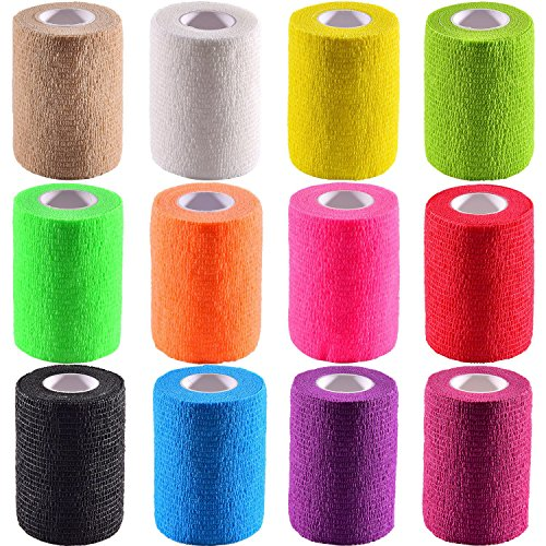 Pangda 12 Pieces Adhesive Bandage Wrap Stretch Self-Adherent Tape for Sports, Wrist, Ankle, 5 Yards Each (3 Inch, 12 Colors)