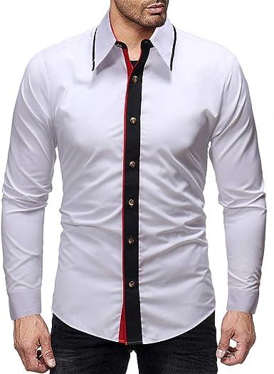 Yvelands Camisas para Hombres, Camisas de Corte Slim para Hombres Top Camisa de Vestir de Manga Larga para Patchwork Casual ¡Caliente!: Amazon.es: Ropa y accesorios
