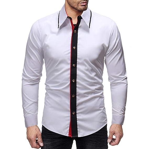 Cebbay Camisa Delgada de Manga Larga para Hombre Vestido Casual de ...