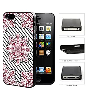 Red Victoria Damask With Black Stripes Hard Plastic Snap On Cell Phone Case Apple iPhone 4 4s