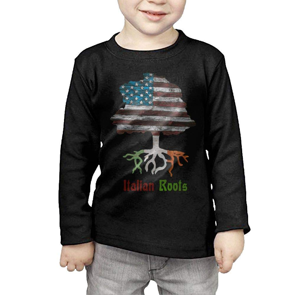 Fryhyu8 Newborn Childrens American Italian Roots Printed Long Sleeve 100/% Cotton Infants T-Shirts
