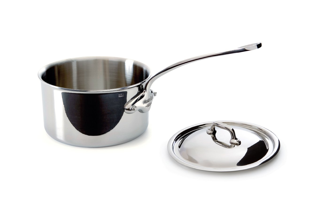Mauviel Made In France MCook 5 Ply Stainless Steel 5210.21 3.7 Quart Saucepan with Lid Cast Stainless Steel Handle