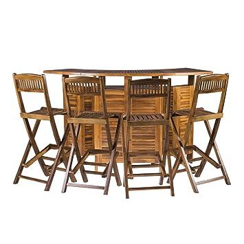 Mesa de Bar Extensible con Sillas - para Exterior, de Teca ...