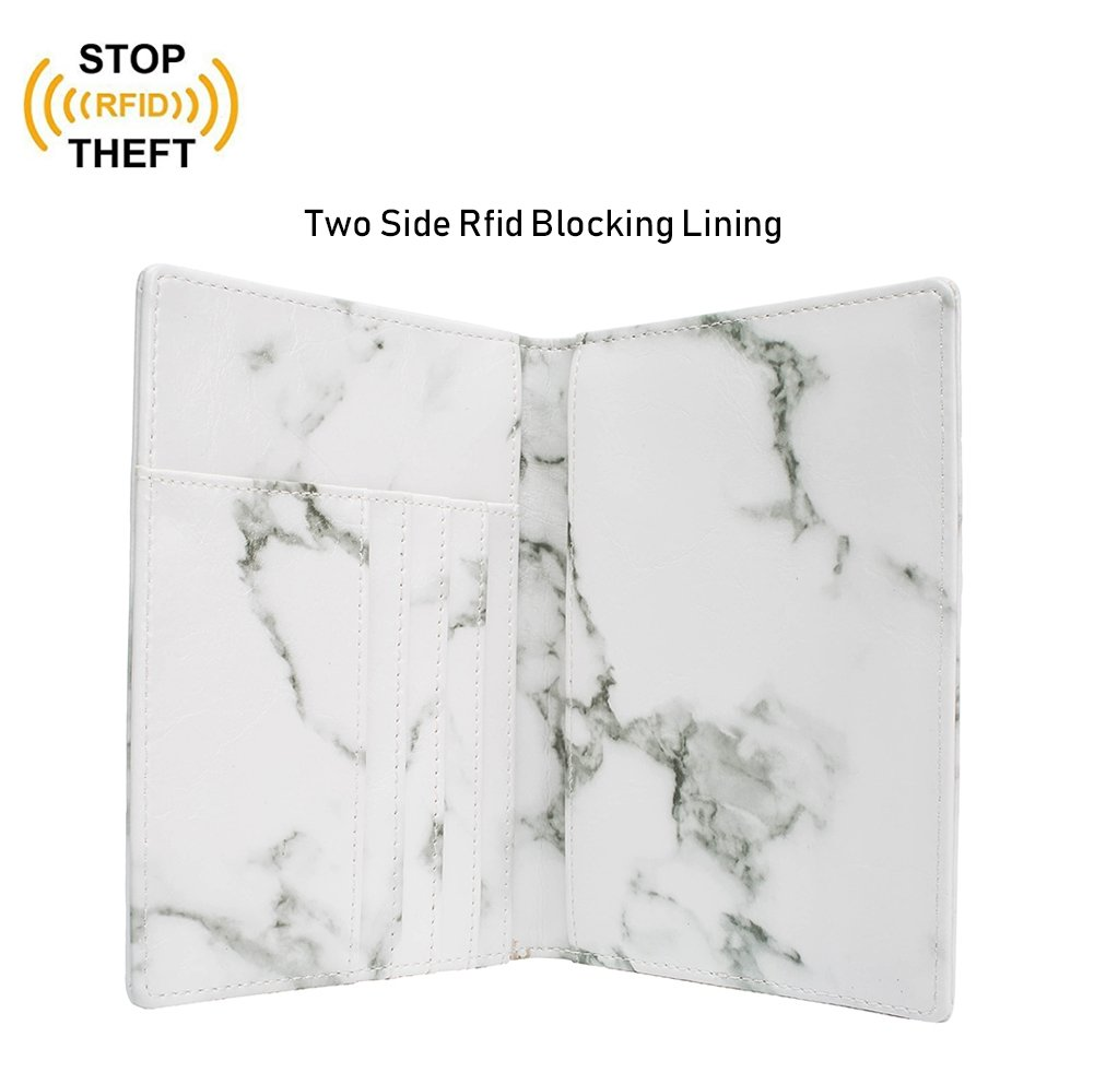 Leotruny Passport Holder Cover Waterproof Rfid Blocking Travel Wallet Case (White Marble) by leotruny (Image #4)