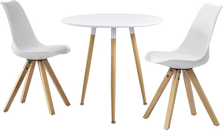 Tavoli Da Pranzo Tondi.En Casa Tavolo Da Prenzo Tondo Bianco O80cm Con 3 Sedie Biance