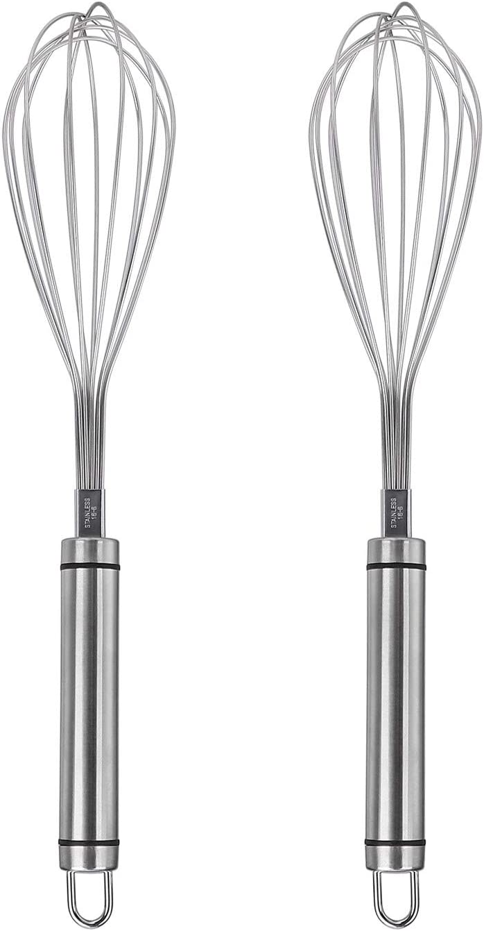 Mixing and Stirring 12 inch Silver Whisking Stainless Steel Whisk Manual Egg Beater 2Pcs Wire Whisk Kitchen Tool for Blending