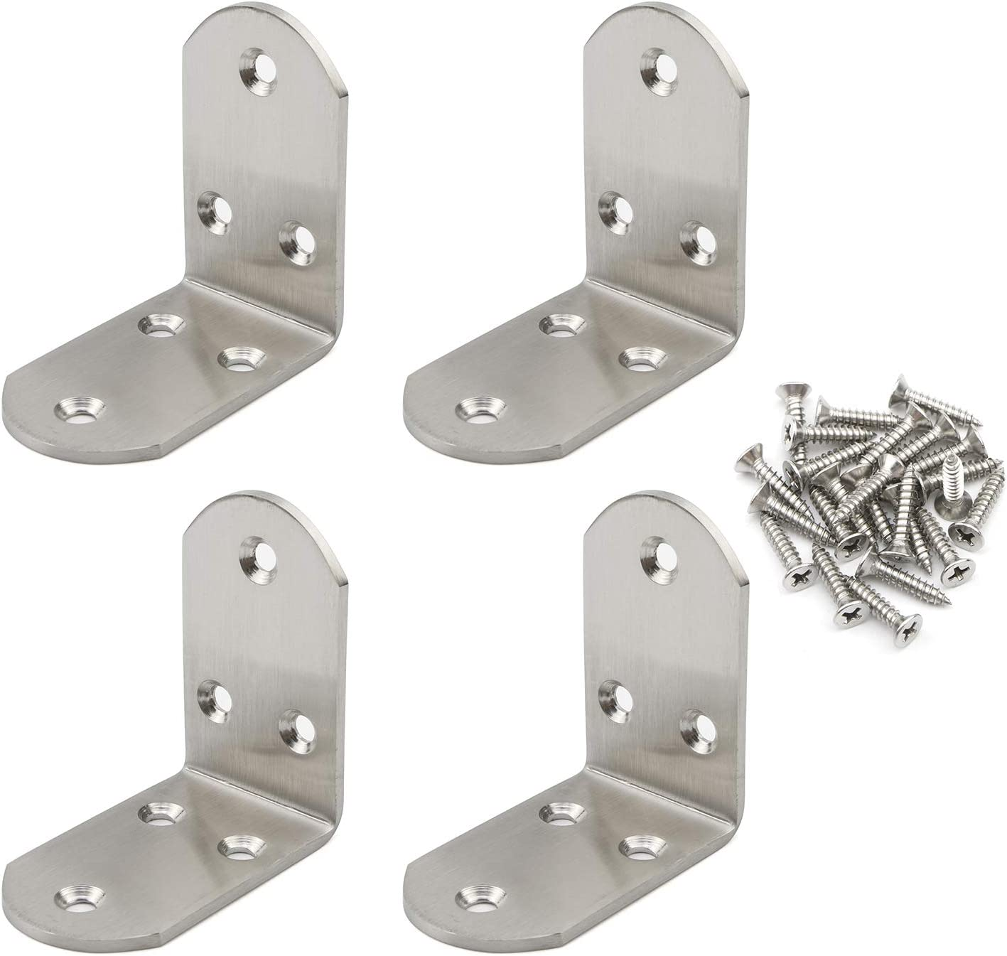 Pxyelec Stainless Steel 3mm Thicker Brace Corner Steel Joint Right Angle Bracket Fastener, Corner Brace, Wooden Furniture & Fixture Protector for Wood, 65mm x 65mm / 2.56 inch x 2.56 inch, Pack of 4