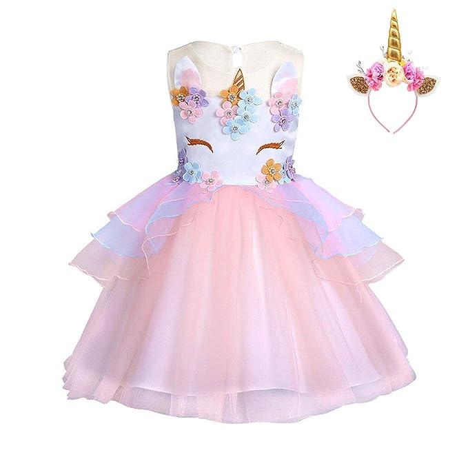 FONLAM Vestido de Fiesta Princesa Niña Bebé Disfraz de Unicornio Ceremonia Cumpleaños Vestido Infantil Flores Carnaval