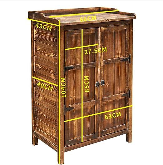 Bels - Armario de almacenamiento para exteriores (madera, resistente al sol, impermeable, para jardín, patio, para herramientas, gabinete de jardín de madera con puertas dobles, 104 x 66 x 43 cm): Amazon.es: Hogar