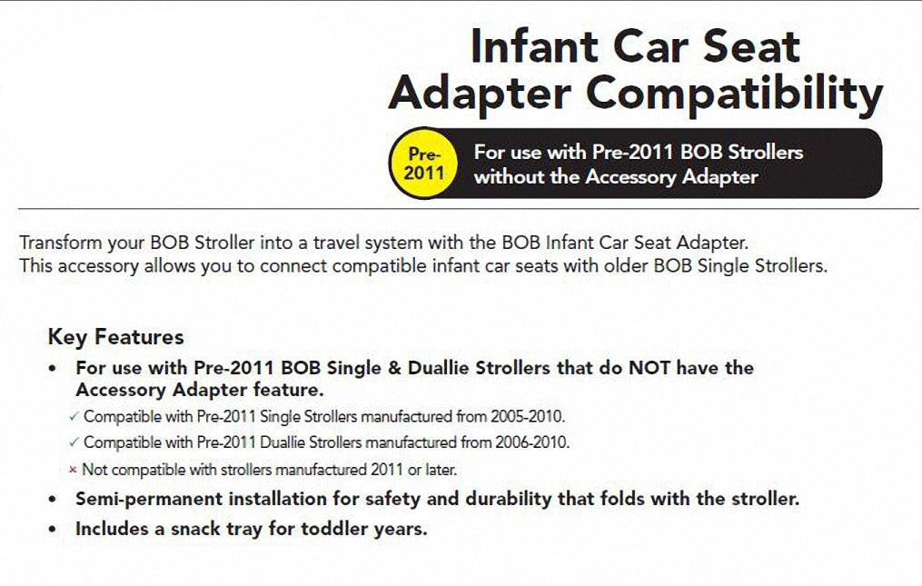 Amazon.com : BOB Infant Car Seat Adapter For Single Strollers : Baby ...