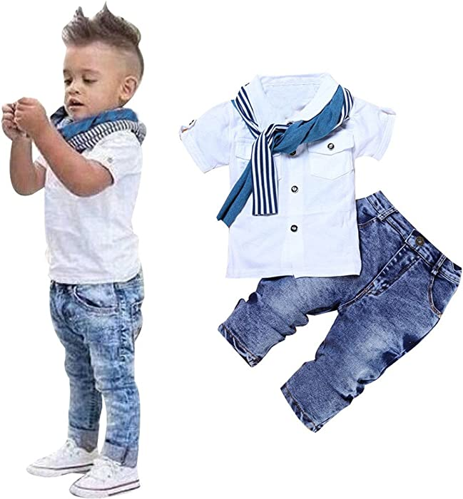 41a6f7e1a Amazon.com: ❤ Mealeaf ❤ Toddler Outfits Kids Boys T-Shirt Short Sleeve Tops  + Scarf + Trousers Denim Pants Casual Clothes Set 2-8T: Clothing