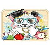 VROSELV Custom Door MatAnimal Panda Goeto School Humor Education Hipster with GlasseBookPen Graphic Art Multicolor