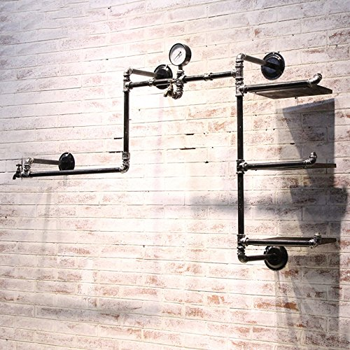 Industrial Retro Pipe Hung Clothing Rack Multi-function Wall Mounted Clothes Store Display Rack by KALER