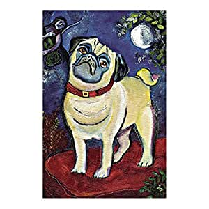 LDJ Pug Under The Moonlight Double Sided Decorative Flags 100% Polyester And Waterproof,Fade,And Mildew Resistant, Custom Garden Flags 28X40 Inch Banner Home Flags Print Flags
