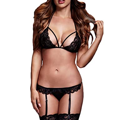 26301c1ae7 SANFASHION Fashion Women Plus Size Bra Lace Babydoll Underwear Set Sexy  Lingerie Sleepwear  Amazon.co.uk  Clothing