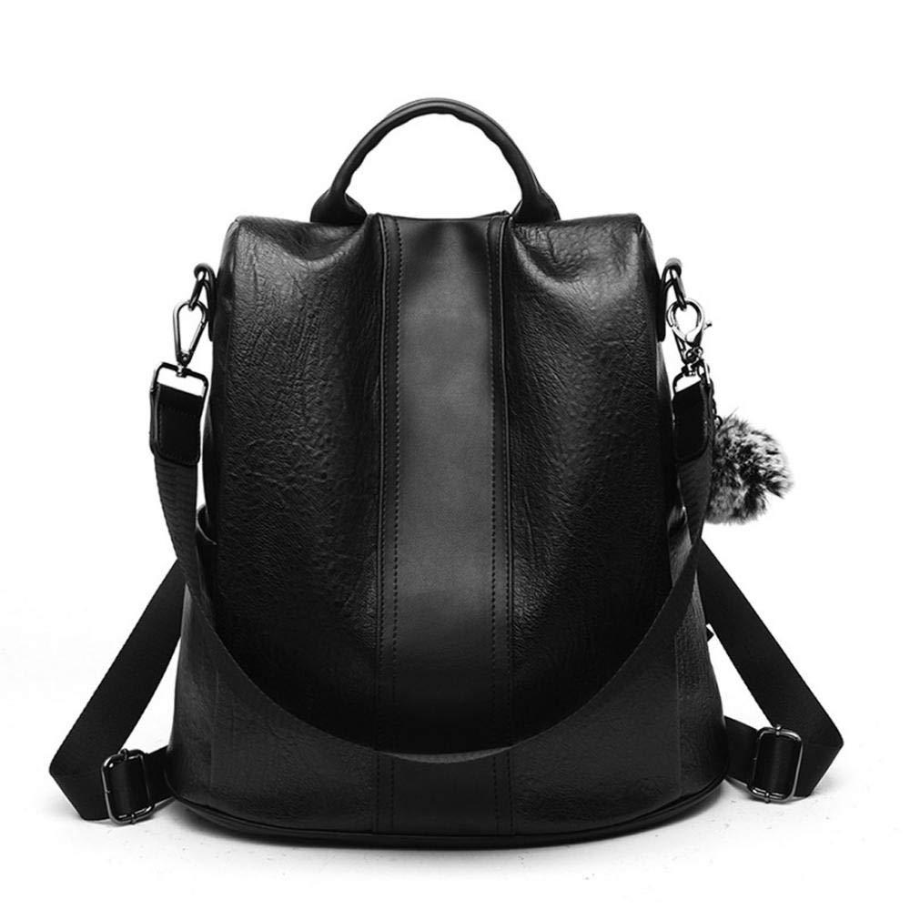 KNUS レディース バックパック Women Backpack B07H8BKT5L  レザー ブラック