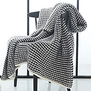zhimian lightweight waffle weave chunky knitted throw blanket 51 wx63 l black and. Black Bedroom Furniture Sets. Home Design Ideas