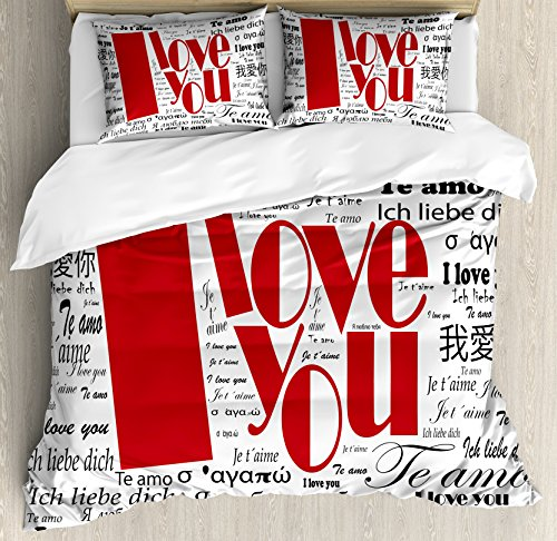 Ambesonne I Love You Duvet Cover Set Queen Size, Newspaper Stylized International Valentine's Words Contemporary Happy Day, Decorative 3 Piece Bedding Set with 2 Pillow Shams, White and Black