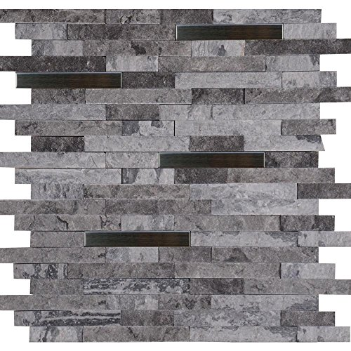 Eclipse Interlocking 12 in. x 12 in. x 8 mm Metal Stone Mesh-Mounted Wall Tile (10 sq. ft. / case) by MS International