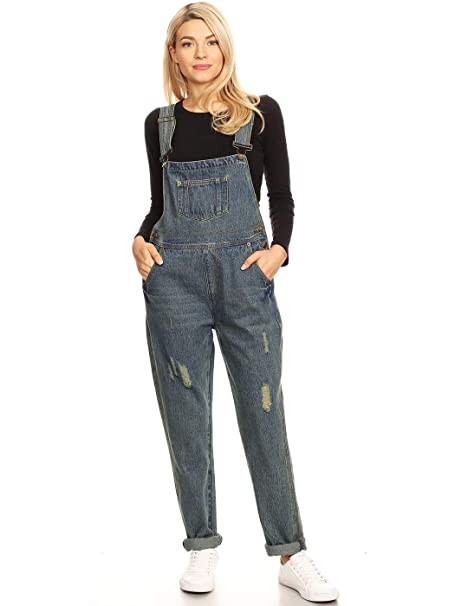 d01ce29d74 Anna-Kaci Womens Vintage Distressed Skinny Leg Denim Overalls with Pockets