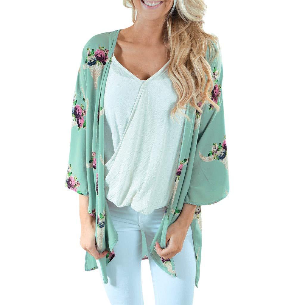 Smock for Women,Fashion Womens Chiffon Shawl Print Kimono Cardigan Top Cover Up Blouse Beachwear,Women's Fashion Hoodies & Sweatshirts,Green,XL
