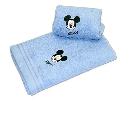 Disney 17277 - Juego de 2 toallas bordadas, diseño cara de Mickey, color azul