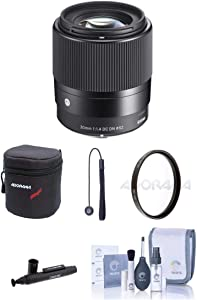 Adorama Sigma 30mm f/1.4 DC DN Contemporary Lens for Sony E-Mount Cameras - Bundle with 52mm UV Filter, Lens Case, Cleaning Kit, Capleash, LensPen Lens Cleaner